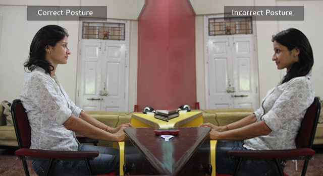 The correct and incorrect posture while sitting