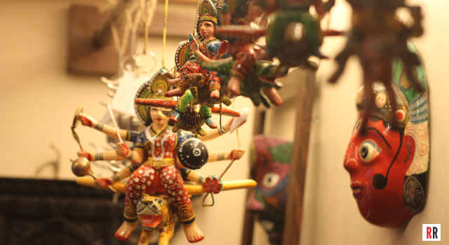 Flying Gods and Goddesses at Dhoop, a home decor and handicrafts store in Khar, Mumbai