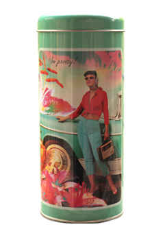 Retro Lady in Red and Blue Storage Tin