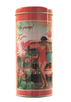 Retro Lady in Red Storage Tin from Zansaar