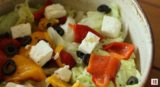 Real Reviews' Valentine's Day Menu: Grilled Sweet Pimentos with Iceberg Feta Vinaigrette Dressing