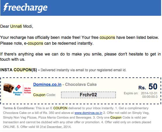 Freecharge Coupon